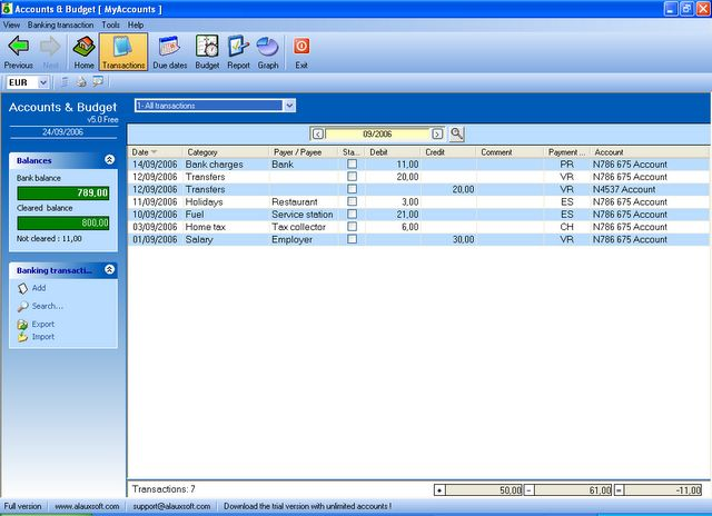 AlauxSoft Accounts and Budget Freeware screenshot